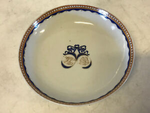 Antique Chinese Export Porcelain Marriage Low Bowl / Plate