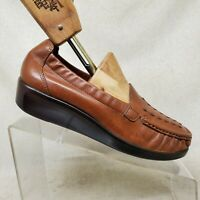 SAS Brown Leather Tripad Comfort Loafers Dress Shoes Womens Size 7.5 M
