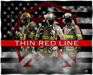 New Fireman Shield Thin Red Line Plush Fleece Throw Gift Blanket USA US Flag NIP