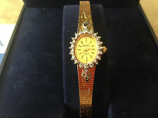 ELGIN Gemstone Ladies Diamond Quartz Watch Gold Plated Gem-burst! New Batt NIB!