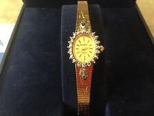 ELGIN Gemstone Ladies Diamond Quartz Watch Gold Plated Gem-burst! New Batt NIB!