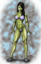 She-Hulk beauty Marvel fantasy comics art muscle 11x17 signed print Dan DeMille