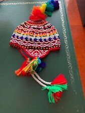 PERUVIAN CHULLO HAT WITH BEADS MULTICOLOURED RAVE FESTIVAL  HAND MADE  22