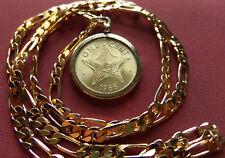 "London Mint Uk 1966 BAHAMAS STARFISH Coin Pendant 24"" 18KGF GOLD FILLED CHAIN"