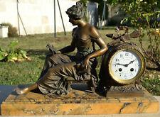 ancienne PENDULE bronze La Liseuse par COFFIN - Lemaire à Soissons- Mvt HB Paris