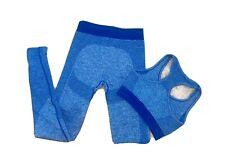 Blue Seamless Gym Set. Leggings & Sports Bra Size S 10 Squat Proof