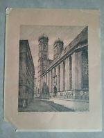 Vintage Lithograph from Europe, SIGNED in pencil - clock tower