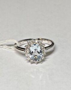 18K WHITE GOLD GENUINE DIAMOND & GENUINE AQUAMARINE LADIES RING