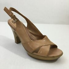 Womens Sofft Tan Leather Slingback Open Toe Heels Size 7.5M Cute Work Date