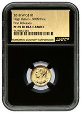 2018-W 1/10 oz Gold American Liberty Proof $10 NGC PF69 UC FR Blk Foil SKU53080