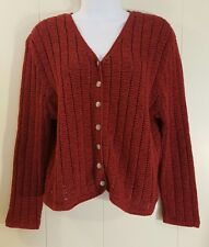Pendleton Classic LARGE Sweater Red Cardigan Knit
