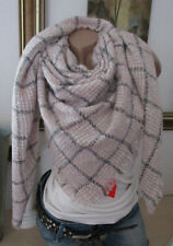 XXL Neckerchief Fringes Scarf Plaid Check Stole Poncho Striped Checked Pink-Grey