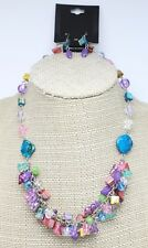 New Silver Tone Necklace Earring Set with Colorful Shell Stones NWT #N2348