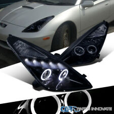 Glossy Piano Black Fit Toyota 00-05 Celica Smoke LED Projector Headlights Lamps