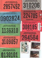 Lot Of (14) 1980's Michigan Hunting Backtags Plus (3) Trout And Salmon Stamps