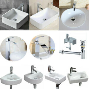 Bathroom Sink Ceramic Countertop Cloakroom Wall Bowl White Basin+Taps+Waste Plug