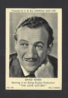 A & B C GUM - FILM AND TV STARS, 3 - #120 DAVID NIVEN, THE LOVE LOTTERY