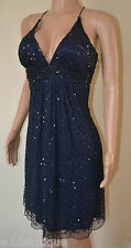 VICKY MARTIN Halle blue sequin padded cocktail dress 8 BNWT RP£200 PARTY WEDDING