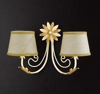 Applique lampada parete classico ferro battuto paralumi foglie fiori oro