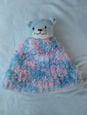 Kids Hand Knitted Soft Beanie Pink Blue With Plush Dog On Top