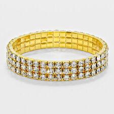 Rhinestone Bracelet 3 Row Wide Stretch Bangle Crystal Pave Wedding Bride GOLD