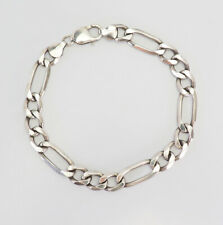 Industrial curb chain long men's sterling silver bracelet Italy