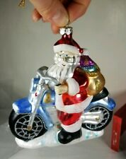 Santa Claus On Motorcycle Delivering Christmas Ornament Blown Glass Glitter Cute