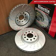 FOR AUDI SEAT SKODA VW FRONT AXLE CROSS DRILLED COATED KINETIX BRAKE DISCS 312mm