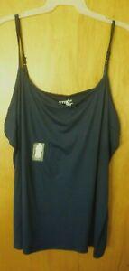 New Womens 5X 32W/34W Blue Long Tunic Length Cami Tank Top Super Soft