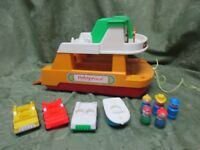 Vintage 1979 Fisher Price Little People Ferry Boat 932 Play Family Toy Set A