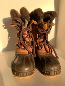 Sorel Kids Winter Snow Boots Sz 2 Warm Lined Tan Leather Brown Rubber Canada USA