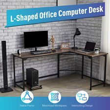 L Shaped Gaming Desk With Tower Shelf Cable Management 66x19 47x19 Sides Walnut