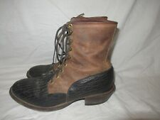 JUSTIN Cowboy Boots 11 D Mens Packer LEATHER Western Lace Up Roper USA VTG