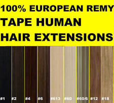 "24"" TAPE SKIN WEFT FULL HEAD REMY HUMAN HAIR EXTENSIONS 40PCS Brown Blonde Black"