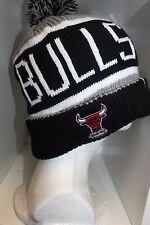 NBA Chicago Bulls CALGARY POM KNIT Cap BLACK/GRAY CALGARY Beanie with Pom