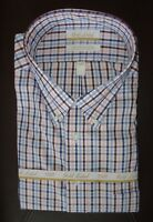 Roundtree Yorke Gold Label Dress Shirt * Blue Pink Multi * 20 - 36/37 TALL NWT