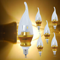 1/4/10x 6W E12 Candelabra LED SMDs Candle Light Bulbs Warm White Lamp High Power