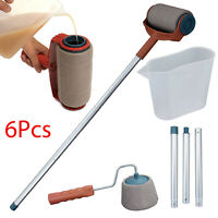 6pcs/Set Paint Pro Roller Brush Set Wall Painting Edge Handle Tool Paint Rollers