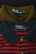 Lot of 2 Ralph Lauren Polo Mens Polo Shirt Large L Cotton Brown Red Blue