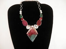 RUBY ZOISITE DRUZY Pearl Ruby Emerald Clear Quartz Handcrafted Necklace