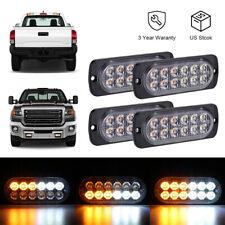 4PCS Amber/White 12LED Car Truck Emergency Warning Hazard Flash Strobe Light US