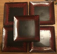 Set (5) Red & Black Ceramic Dinner Plate Square Stoneware 10.75""