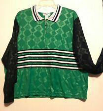 Bonnie Evans Plus Women Blouse Top ~  sz 3X ~ Polyester  Collar Green and Black