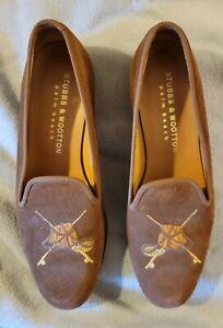 Stubbs & Wootton Brown Slip on Shoes Fishing Reels Creel Net Mens Size 9 1/2
