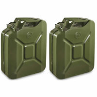 2x 20L Green Metal Jerry Can Fuel Petrol Diesel Oil Containers Canister Army 4x4