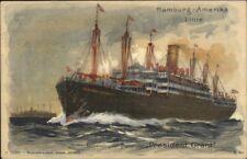 Hamburg Amerika Line Steamship President Grant c1910 Postcard