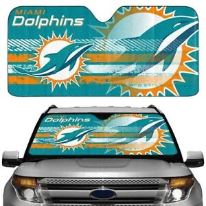 MIAMI DOLPHINS UNIVERSAL AUTO SUNSHADE AND LICENSE PLATE FRAME GIFT PACKAGE