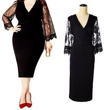 idomcats womens Sexy V neck Plus Size Bodycon lace Party Stretchy midi Dress