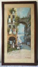 Antico quadro - Guazzo - gouache Napoli - Vesuvio / Gianni