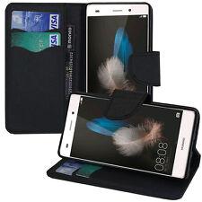 Housse Etui Portefeuille Silicone PU Effet Tissu NOIR Huawei P8lite/ ALE-L04
